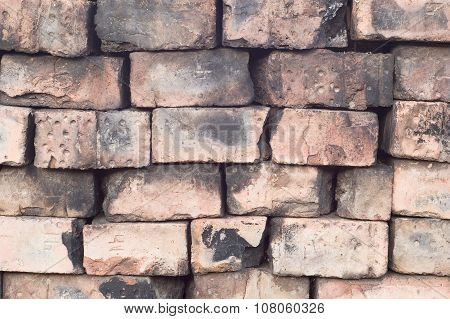 Old Dry Masonry Wall Of Burnt Bricks Closeup