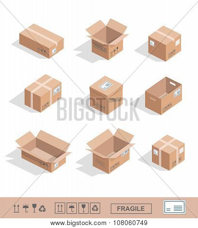 Delivery cardboard collection icons Opened, closed, sealed, cubic set isolated vector