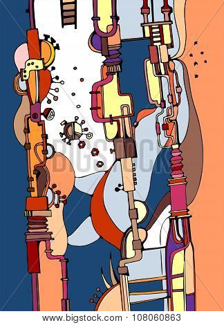 Stylized Graphic Illustration Of Fantasy Pipes And Mechanisms. Vector Illustration.