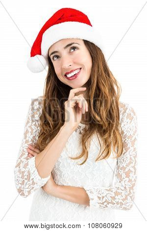 Christmas Woman Looking To Copy Space