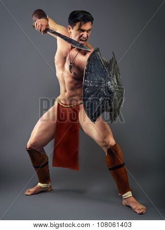 Ancient Warrior In A Combat Stance