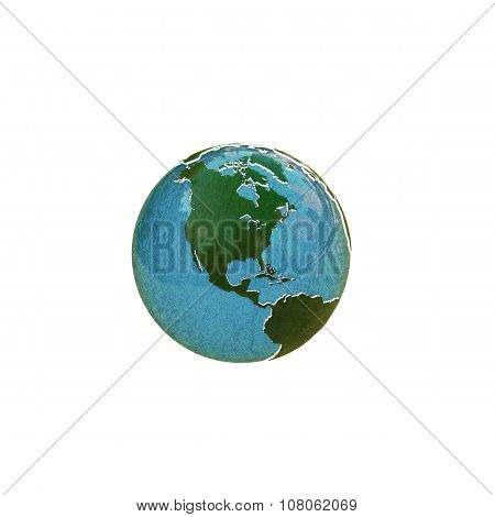 Planet Earth With Extruded Continents