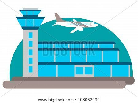 The airport building and the aircraft on the sky background. Vector illustration