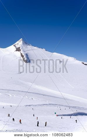 Skiers And Snowboaders On Hintertux Glacier