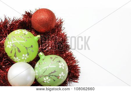 Bright red and green Christmas decorations