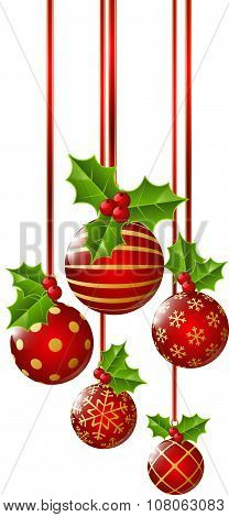 Christmas red decorations with holly leaves on white