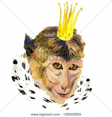 Watercolor portrait of monkey with a crown