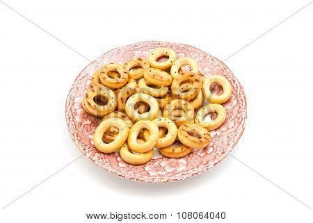 Bagels On Pink Dish On White