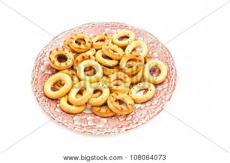 Bagels On Pink Plate On White