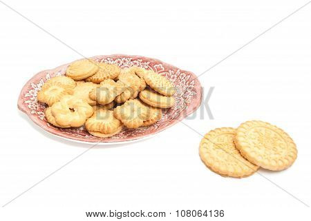 Different Delicious Cookies On A Plate