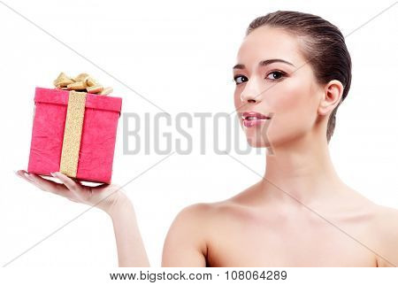 Pretty woman with a red gift box on a white background, isolated