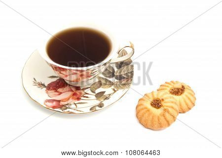 Mug Of Tea And Two Tasty Cookies