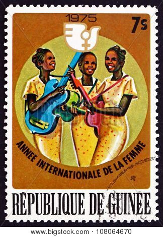Postage Stamp Guinea 1976 Women Banjo And Guitar Players