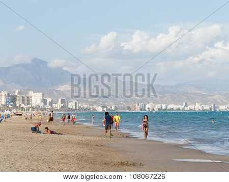 People Relax At The Beach Alicante