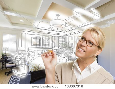 Creative Woman With Pencil Over Custom Bedroom Design Drawing and Photo Combination. The framed art is photographer's copyright.