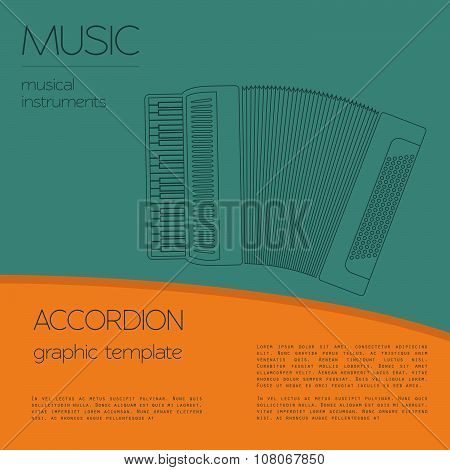 Musical instruments graphic template. Accordion.