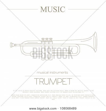 Musical instruments graphic template. Trumpet