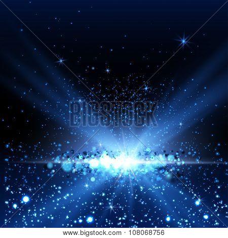 Blue spotlight background.