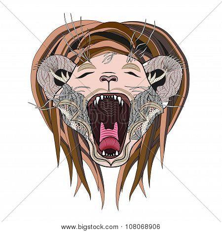 Hand drawn lion page. Roaring zentangle lion.
