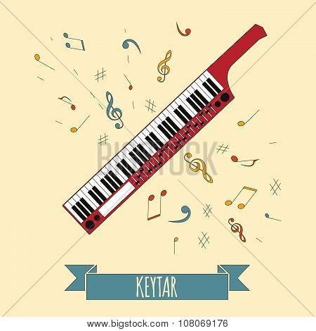 Musical instruments graphic template. Keytar
