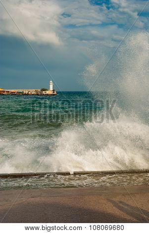 Storm on a Black Sea shore in Yalta city