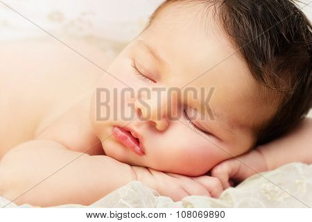 Close up newborn baby