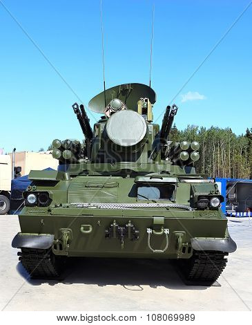 MOSCOW REGION  -   JUNE 17: Self-propelled ground-based combined short to medium range surface-to-air missile and anti-aircraft artillery weapon  -  on June 17, 2015 in Moscow region