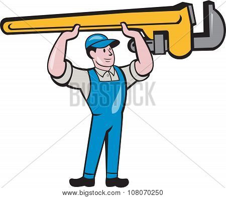 Plumber Lifting Monkey Wrench Isolated Cartoon