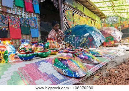Handicrafts Are Perpared For Sale By Rural Indian Woman In Pingla Village, India