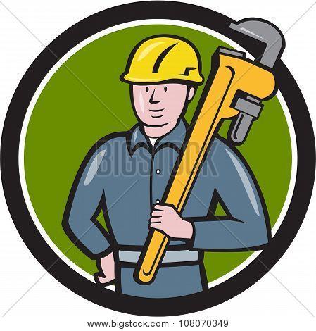 Plumber Holding Wrench Circle Cartoon