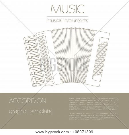 Musical instruments graphic template. Accordion