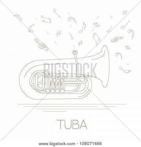 Musical instruments graphic template. Tuba.