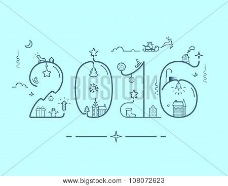 Inscription of New Year 2016 with decoration