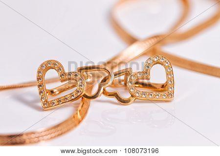 Gold Earrings Heart Shaped