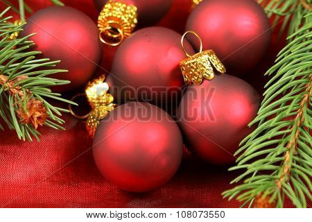 Macro Of Christmas Baubles Group