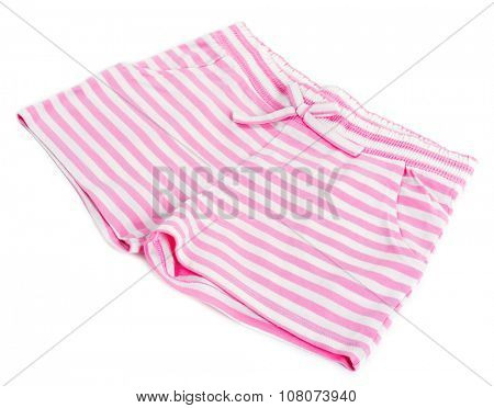 Pink striped cotton shorts isolated on white background