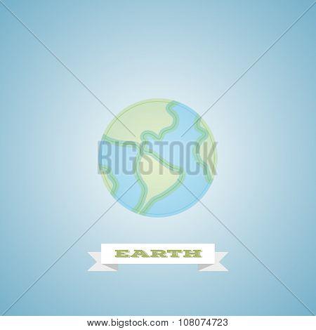 Globe Earth Logo minimalistic Linear Flat Vector Icon