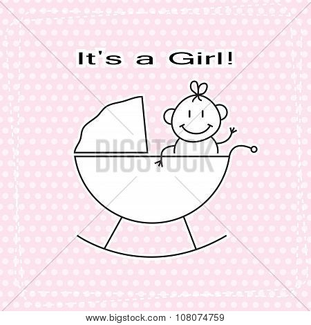 Cute Girl In Child Pram baby Shower Announcement