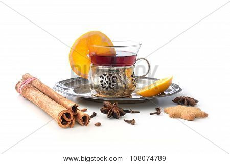 Mulled Wine, Christmas Punch With Orange And Spices Isolated With Shadows On White