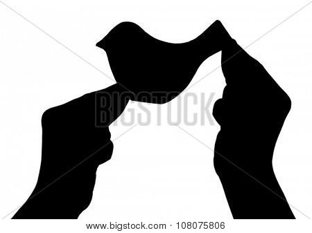 Silhouettes of hands with decorative birds, isolated on white