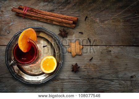 Christmas Mulled Wine From Above On A Rustic Wooden Background