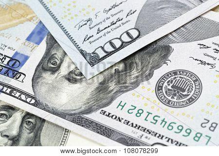 one hundred dollar bills macro photo