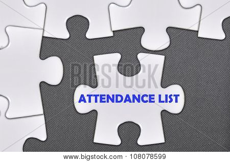 The White Jigsaw Puzzle Written Word Attendance List