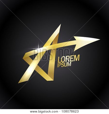 Letter A like a gold star, vector logo with arrow.