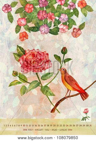 Vintage 2016 Wall Calendar With Watercolor Birds And Flowers; July