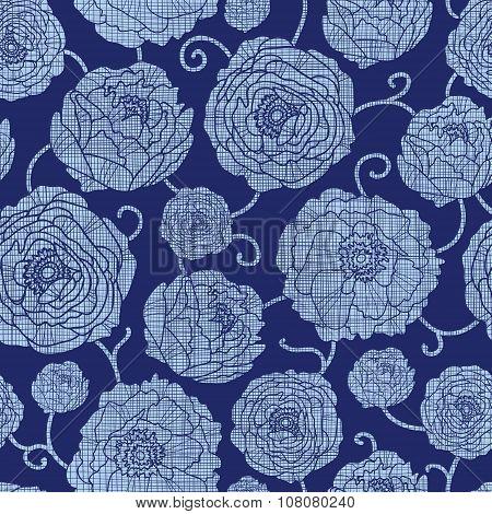 Vector Navy Textile Peonies Light Flowers Seamless Pattern. Denim, textured, elegant, modern, floral