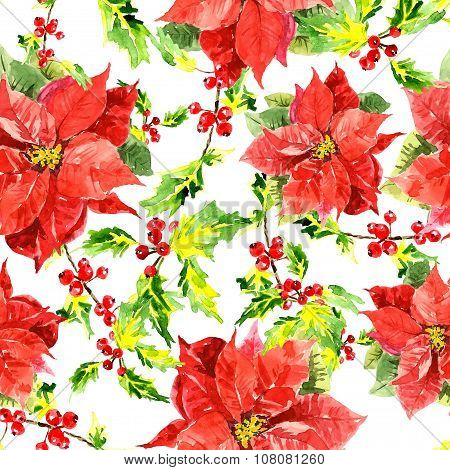 Watercolor Christmas background with  leaves, berries and  hibiscus