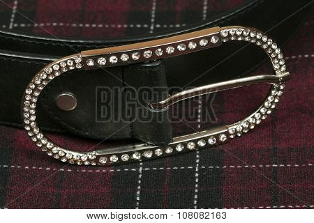 Female Leather Belt With Decorative Buckle
