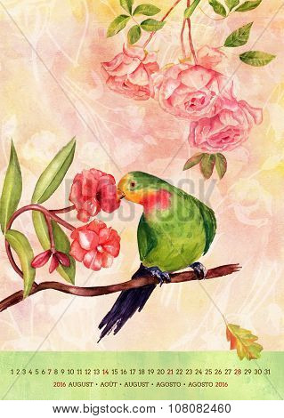 Vintage 2016 Wall Calendar With Watercolor Birds And Flowers; August