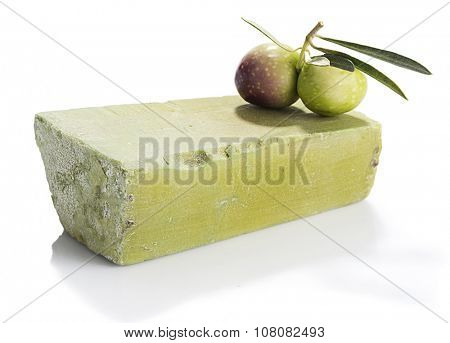 Bar of natural olive oil soap isolated white background.